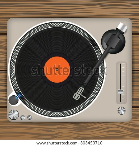 Dj Turntable With LP. Vector Illustration - stock vector