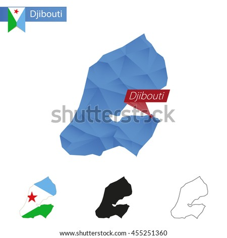 Djibouti blue Low Poly map with capital Djibouti, versions with flag, black and outline. Vector Illustration. - stock vector
