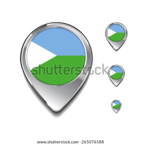 Djibouti flag map pointer. 3d Map Pointer with flag glossy button style on gray background