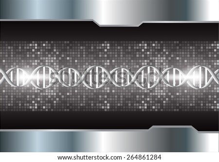 DNA background. molecular structure of planar elements. vector. black Light Abstract Technology background for computer graphic website internet and business. silver. Pixel, mosaic, table - stock vector
