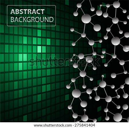 DNA background. molecular structure of planar elements. vector. green Light Abstract Technology background for computer graphic website internet business. text box.Tables,mosaic.pixel.card - stock vector