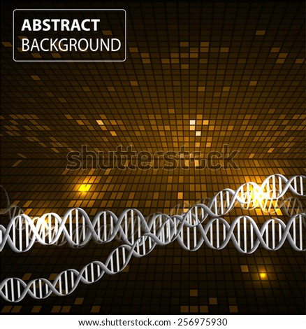 DNA background. molecular structure of planar elements. vector. orange Light Abstract Technology background for computer graphic website internet and business. text box. Tables, mosaic - stock vector