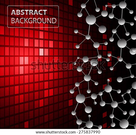 DNA background. molecular structure of planar elements. vector. red Light Abstract Technology background for computer graphic website internet business. text box.Tables,mosaic.pixel.card - stock vector