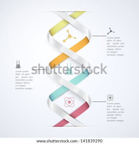 DNA banner, science infographics. Illustration contains transparency and blending effects, eps 10 - stock vector
