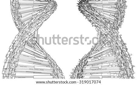 DNA Chain Made With Cubes And Boxes Vector 25 - stock vector