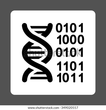 DNA Code vector icon. Style is flat rounded square button, black and white colors, gray background.