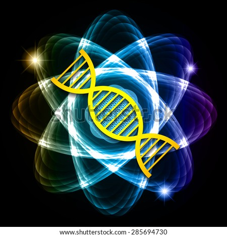 DNA. Dark blue red green Shining atom scheme. Vector illustration. dark background. digital. infographics. Abstract Technology background for computer graphic website internet and business. circuit. - stock vector