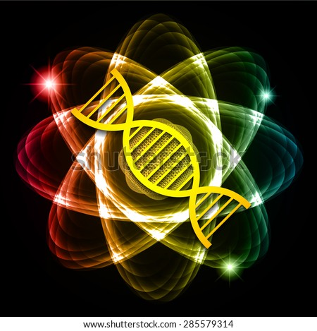 DNA. Dark blue red yellow Shining atom scheme. Vector illustration. dark background. digital. infographics. Abstract Technology background for computer graphic website internet and business. circuit. - stock vector