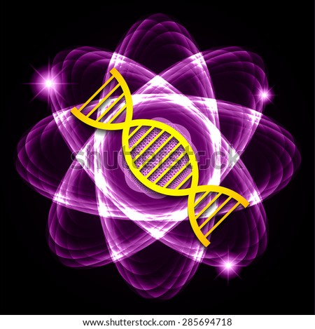 DNA. Dark purple Shining atom scheme. Vector illustration. dark background. digital. infographics. Abstract Technology background for computer graphic website internet and business. circuit. - stock vector