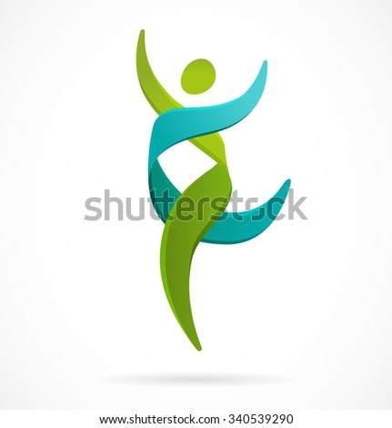 DNA, genetic symbol - running and jumping man icon - stock vector