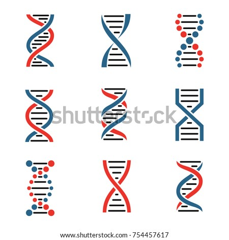 DNA icon set isolated on a white background. Vector illustration.