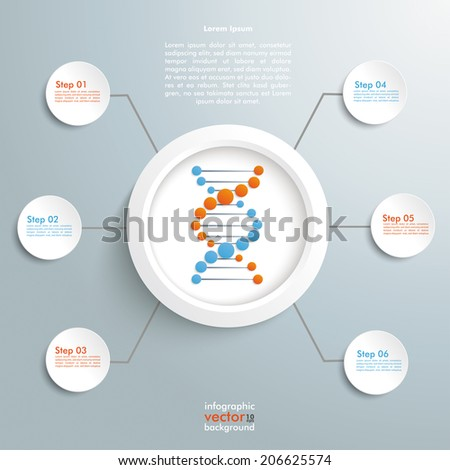 DNA in the ring with circles on the grey background. Eps 10 vector file. - stock vector