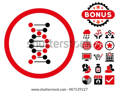 DNA Spiral icon with bonus elements. Vector illustration style is flat iconic bicolor symbols, intensive red and black colors, white background.