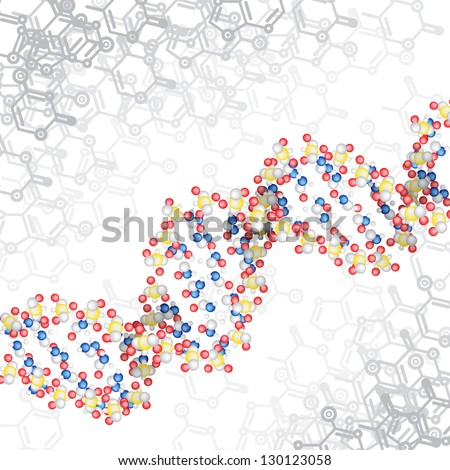 dna structure with chemical scheme background - stock vector