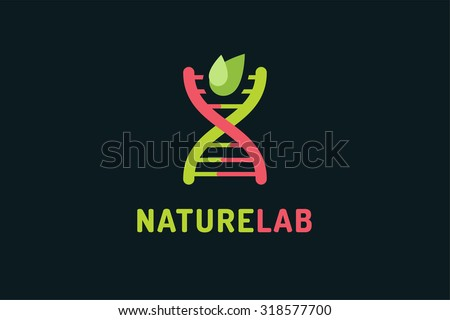DNA vector logo. Technology biology DNA vector icon. DNA laboratory sign. Symbol of technology DNA chain isolated. DNA abstract silhouette leaves eco nature product. Leaves eco icon - stock vector