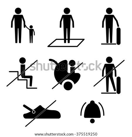 Do and Don't Escalator Safety Guideline Sign Symbol Icon Pictogram - stock vector
