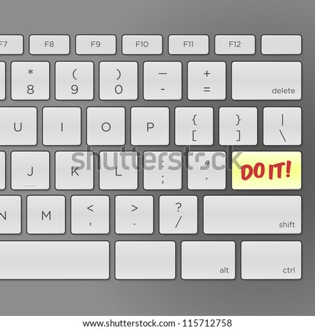 Do It Keyboard - Illustration of keyboard with pushing Do It message - stock vector