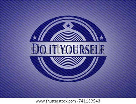Do yourself badge denim background stock vector 741139543 shutterstock do it yourself badge with denim background solutioingenieria Image collections
