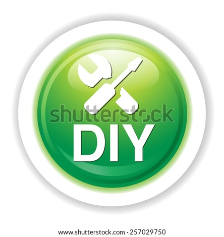 do it yourself button - stock vector