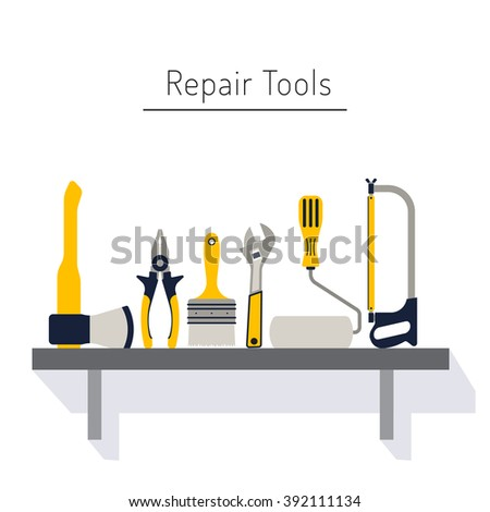 Do it yourself, construction repair tools flat icon set. Tools like hammer, axe, ruler, hatchet home repair. Isolated tools flat set.  Home renovation and construction concept with DIY tools. - stock vector