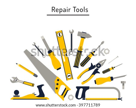 Do yourself construction repair tools flat vectores en stock do it yourself construction repair tools flat icon set tools like hammer axe solutioingenieria Gallery