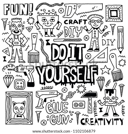 Do yourself creativity craft funny doodle stock vector 1102106879 do it yourself creativity craft funny doodle set black and white drawing vector solutioingenieria Images