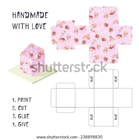 Do yourself vector pink gift box stock photo photo vector do it yourself vector pink gift box template with flower pattern handmade with love solutioingenieria Images