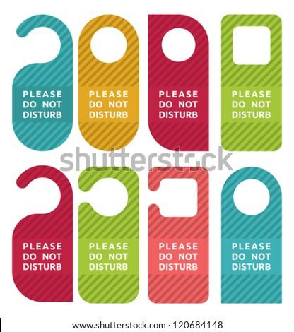 do not disturb door hanger set - stock vector