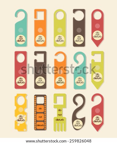 Do not disturb signs retro set - stock vector