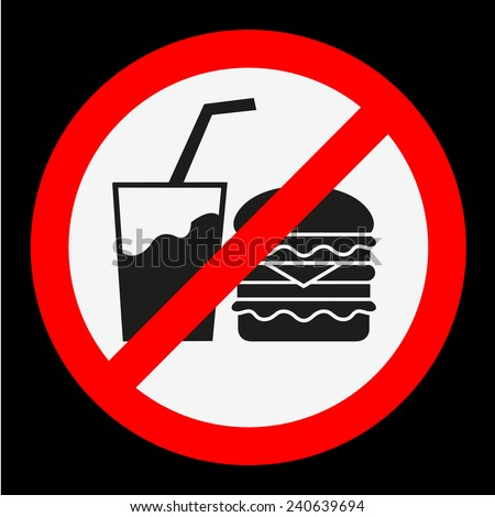 Do not eat and drink - stock vector