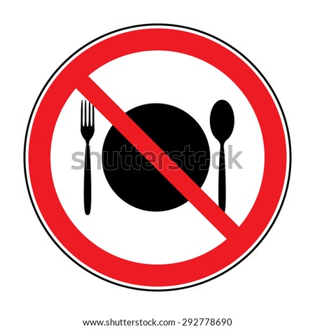 Do not eat icon. Cutlery symbol. Knife and fork. No food sign. Red circle prohibition sign. Stop flat symbol. Vector - stock vector