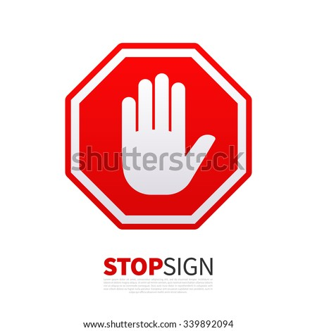 Do not enter stop red sign with hand