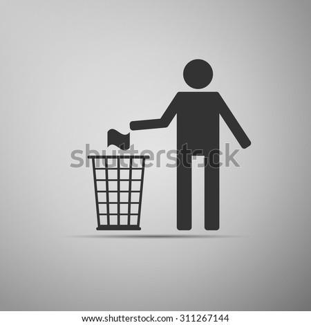 Do not litter icon on grey background. Vector Illustration - stock vector