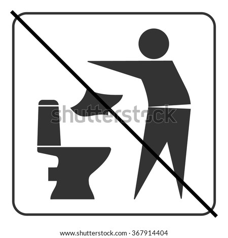 Do not litter in toilet icon. Keep clean sign. Silhouette of a man, throw garbage in a bin, in square isolated on white background. No littering warning symbol. Public Information. Vector illustration - stock vector