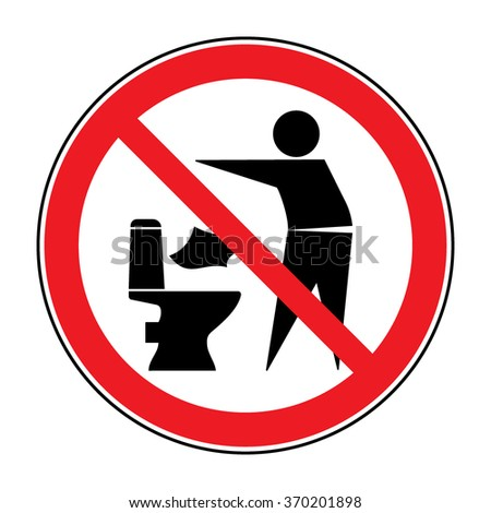 Do not litter in toilet icon. Keep clean sign. Silhouette of a man, throw garbage in a bin, in circle isolated on white background. No littering warning symbol. Public Information. Vector illustration - stock vector