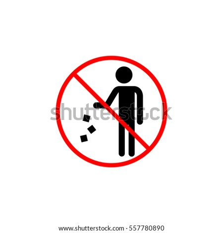 Do not litter line icon prohibition sign forbidden dont throw rubbish