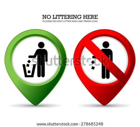 Do not litter sign - stock vector