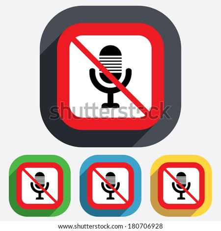 Do not record. Microphone icon. Speaker symbol. Live music sign. Red square prohibition sign. Stop flat symbol. Vector