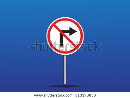 Do not turn sign on blue  - vector