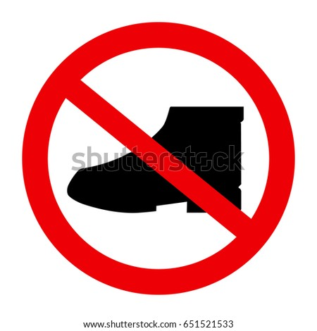 Do not walk in shoes sign icon.