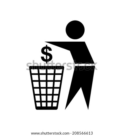 Do not waste your money icon on white background
