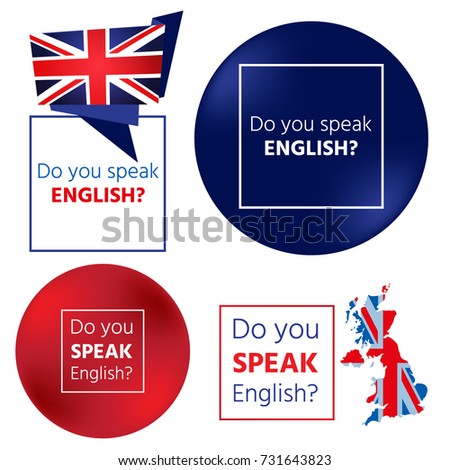 Do you speak English? Concept of learning English. Set of vector elements isolated on white background for banners, flyers, leaflets and other items.
