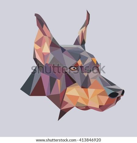 Doberman low poly vector illustration - stock vector