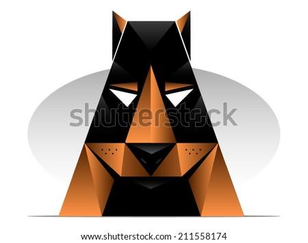 doberman or rottweiler styled dog illustration/Vector Dog Mascot Modern - stock vector