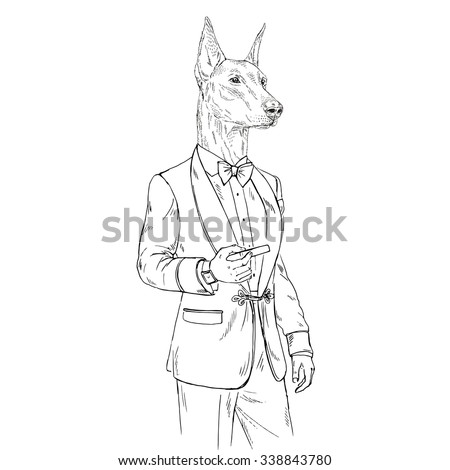Doberman Pinscher Dog Dressed Up In Retro Style With Cigar Furry Art Illustration