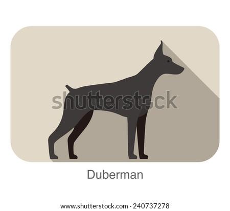 Doberman  silhouette flat icon design - stock vector
