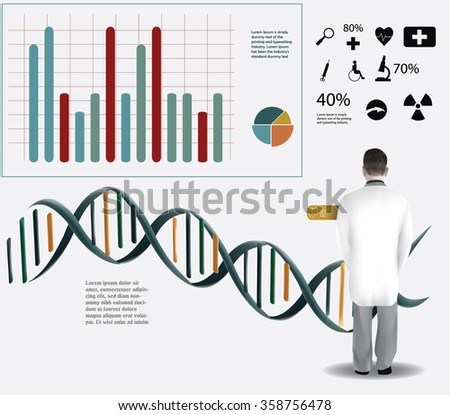 Doctor analyzing a DNA, Medical infographic template, medical icon elements - stock vector