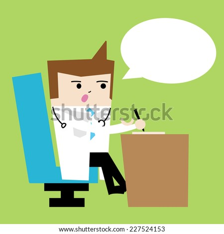 Doctor and chat box - Character Cartoon Illustration, Vector