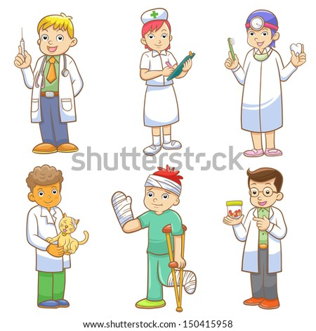 Doctor and Medical person cartoon set. EPS10 File  no Gradients, no Effects, no mesh, no Transparencies.All in separate group for easy editing.