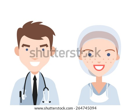 Doctor and nurse. - stock vector